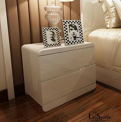 New High Gloss White Bedside Table Chest of Drawers Night Stand Modern furniture