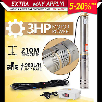New 1HP Submersible Bore Water Pump Deep Well Irrigation Stainless Steel 240V