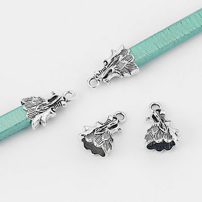 10x Silver Dragon Head End Bead Fit 12*7mm Licorice Leather DIY Bracelet Finding
