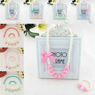 Baby Girls Jewelry Set Bowknot Pearl Children Candy Color Necklace Bracelet Set