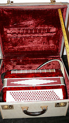 Vintage Itallian Camerano Accordion Red Pearl Finish Hard Shell Case