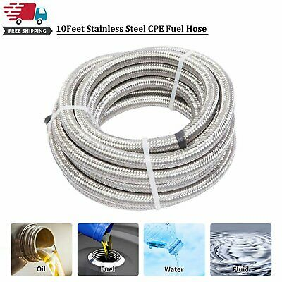 10 Feet AN10 Stainless Steel Braided Fuel Oil Gas Line Hose 10AN Silver