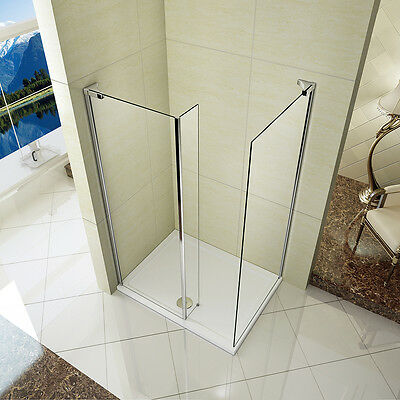 L Shap Walk in Shower Enclosure 1850mm Screen Fixed Return Panel Stone Tray W