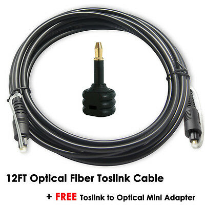 3M Digital Optical Fiber Optic Toslink Audio Cable+Mini Toslink Adapter HDTV PS3