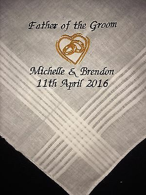 Father of the Groom personalised embroidered Handkerchief present hankie favour