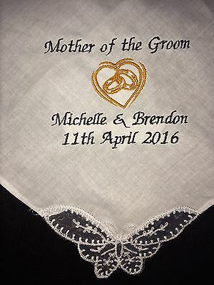Mother of the Groom personalised embroidered Handkerchief present hankie favour