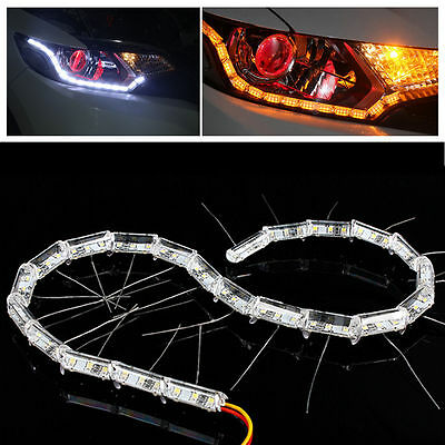 2x Crystal White Yellow Switchback Car DRL 16-LED Light Strip Turn Signal Bulbs