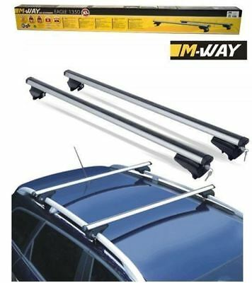 M-Way 135cm 90kg Locking Aluminium Car Roof Rack Bars for Nissan Qashqai & +2