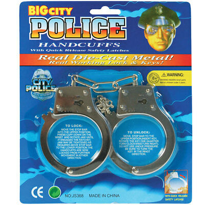 Handcuffs – Police Handcuffs Emergency Services Fancy Dress Accessory Lock Fake
