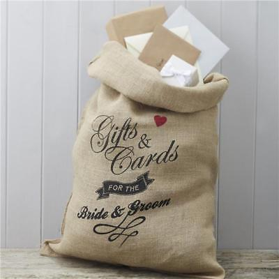 GINGER RAY VINTAGE AFFAIR Mr&Mrs Hessian Sack Postbox for Gifts & Cards WEDDING