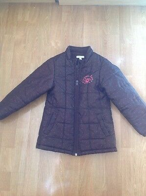 Lovely Vertbaudet Brown With Pink Spots Quilted Girls Coat Age 8Yrs Worn Barely