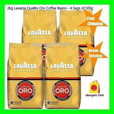 2kg Lavazza Qualita Oro Coffee Beans - 4 bags of 500g