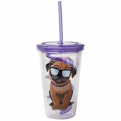 Doug the Pug Sipper Cup with Curly Straw Spill Proof Lid
