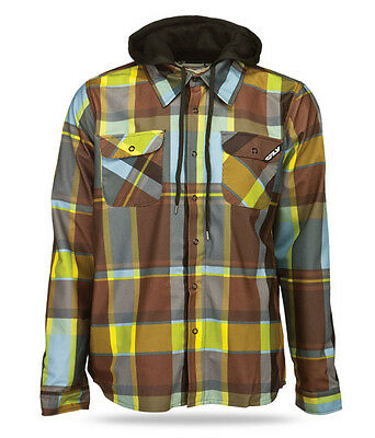 Fly Racing Tactile Windproof Adult Flannel Coat Jacket Yellow Brown Plaid XL