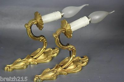 Classic Pair of Large Solid Brass Antique   Wall Sconces Louis XV style