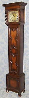 Antique Oak Grandmother / Miniature Grandfather Clock : Weight Driven Movement