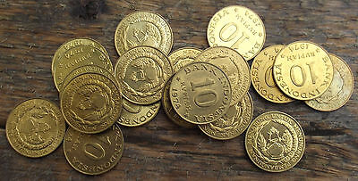Lot Of (10) 1974 Indonesia Uncirculated 10 Rupiah Coins