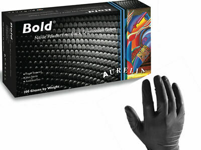QUALITY STRONG 5MM THICK B O L D BLACK NITRILE Gloves 100 - 4000 Mechanic Tattoo