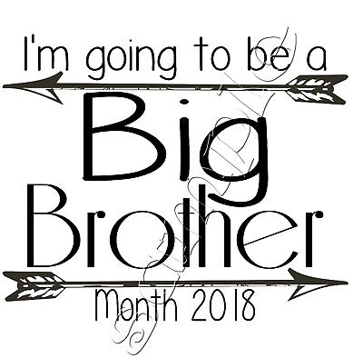 Iron On Transfer I'm Going To Be A Big Brother Arrow Boho Personalise Year Month