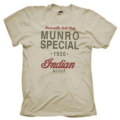 Munro Special 1920 Speed Record Indian Bike Distressed Print Natural T-shirt