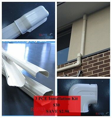Air Conditioner installation kit 3 PCE duct/pipe Cover 80mm PVC