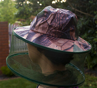 Camouflage Hat with Mosquito Net Bee Fishing Repellent Mesh Camping Face Mask