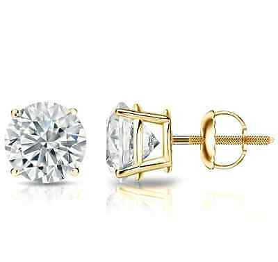 2 Ct Round Cut Studs Earrings Solid 14K Yellow Or White Gold Basket Screw Backs