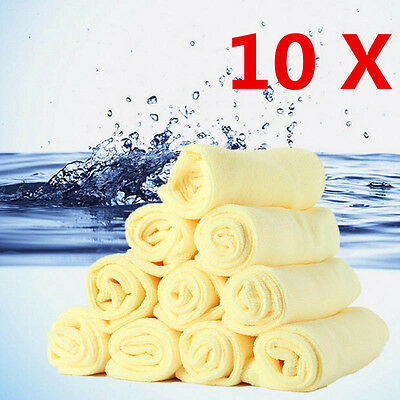 10Pcs Microfiber Kitchen Wash Auto Car Home Dry Polishing Cloth Cleaning Towel