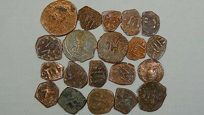 Group Of 20 Ancient Bronze Coins Byzantine 400-700 Ad