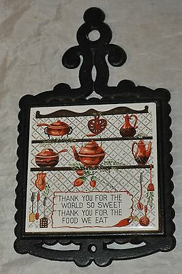 Vintage Cast Iron Mixed Metal Trivet Pot Holder Kitchen Quotes