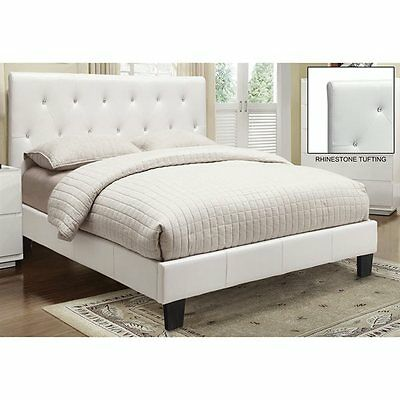 Worldwide Home Furnishings 101-820Q-WT Faux Leather Crystal Tufted Platform Bed