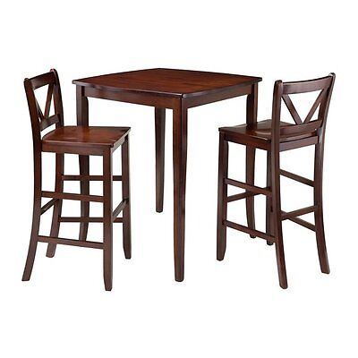 Winsome Wood 94337 Inglewood 3-Piece High Table with 2 V-Back Bar Stools