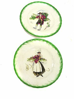 """Pair 9-In Vintage ALFRED MEAKIN """"COSTUMES OF FRANCE"""" PLATES, Brittany, Burgundy"""