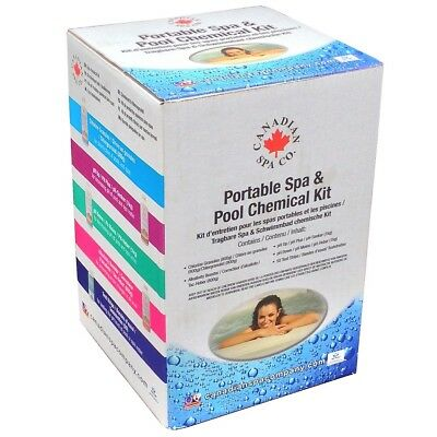 Portable Spa Chemical Kit-Chlorine,Alkalinity Booster,pH up +down,50 Test strips