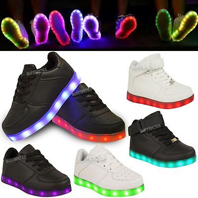Kids Girls Trainers Flashing LED Luminous Lights USB Charger Lace Up Size New UK