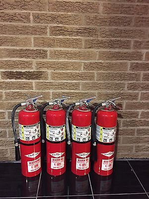SET OF (4)NEW 10LB ABC FIRE EXTINGUISHERS AMEREX B456 And CERTIFIED TAG