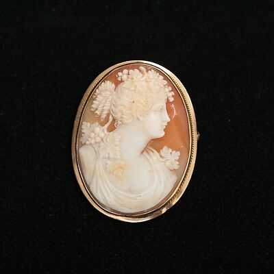 """Antique 14k Yellow Gold Carved Seashell Cameo Brooch Pin Orange White 1.5""""x1.25"""""""