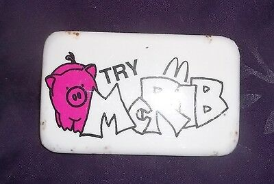 McDONALD'S TRY McRIB BUTTON PIN VINTAGE 1980'S