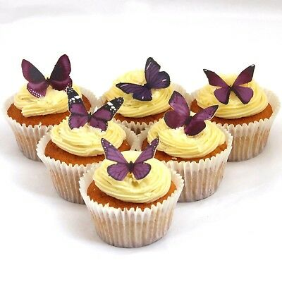 Cakeshop PRECUT 12 Purple Edible Butterfly Cake Cupcake Toppers Decorations
