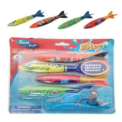 4 in 1 Underwater Torpedo Rocket Swimming Pool Toy Swim Dive Glides Holiday Game
