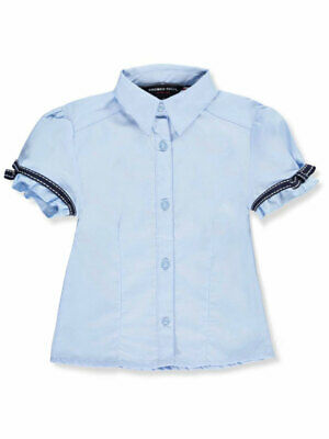 French Toast Big Girls' Bow Stitch Trim S/S Button-Down (Sizes 7 - 20)