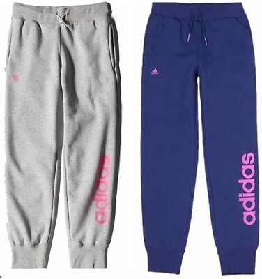 adidas Kids Junior Girls Lin Fleece Tracksuit Pants Trousers Jogging Bottoms