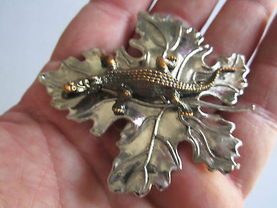 Sylvia Dahl Signed Maple Leaf With Alligator Scarf Clip On Brooches - Tk-2
