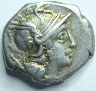 189-180 BC ancient silver coin Roman Republic Denarius coin, Anonymous