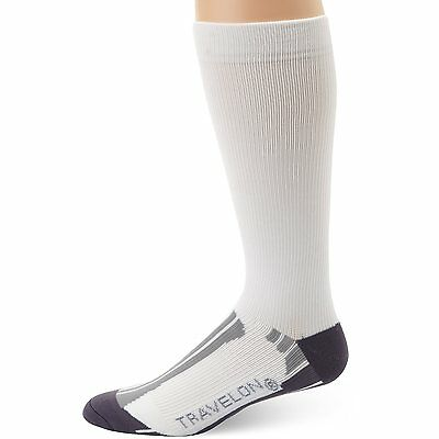 Travelon White Unisex Compression Travel & Sport Socks - Medium or Large