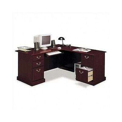 L Shaped Corner Desk Home Office Modern Computer Furniture Cherry Wood Executive