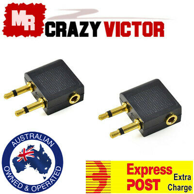 2x Gold 3.5mm to 2 plug connector Airplane Airline Headphone Jack Audio Adapter