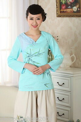 chinese jacket Linen printing short sleeve Top blouse Bamboo leaf 30-40 140909