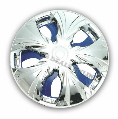 "Premium Chrome / Blue Spinning Wheel Covers 15"" SET OF 4 (#GXS13B)"