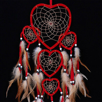 Red Dream Catcher With Feather Heart Shaped Hanging Decoration Ornament Craft